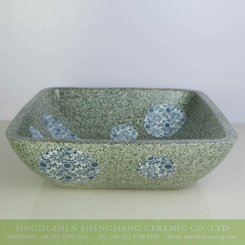 sjbyl-6132 Blue and white dot square green ceramic basin