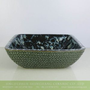 sjbyl-6134 Green surface black inside with white spray ceramic square sink