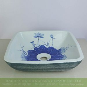 sjbyl-6135 Blue lotus and lotus leaf inside rectangular porcelain wash basin