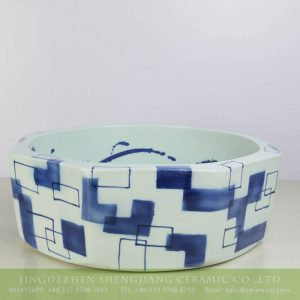 sjbyl-6149 Blue and white geometry pattern ceramic eight sides counter top bowl