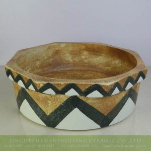 sjbyl-6150 Egypt style octangular brown ceramic basin