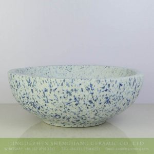 sjbyl-6186 Blue and white snow flake pattern ceramic counter top basin