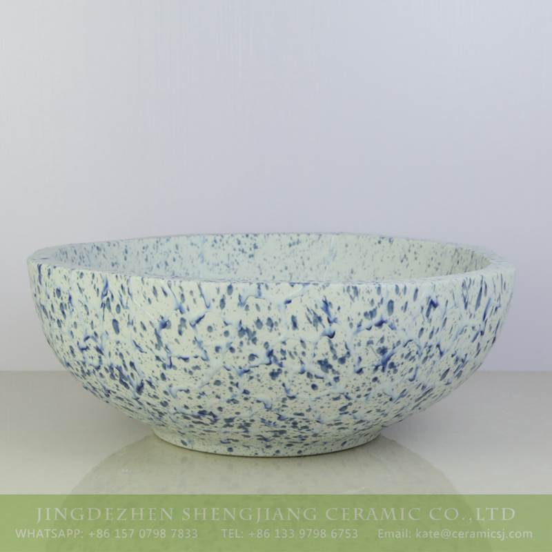 blue petal design ceramic sink