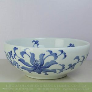 sjbyl-6200 Blur lotus pattern round ceramic bowl for bathroom design