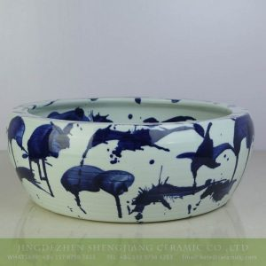 sjbyl-6201 Jingdezhen artisan free style splash blue color porcelain basin