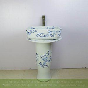sjbyl-6292 Jiangxi province China spring flower pedestal bathroom porcelain sink