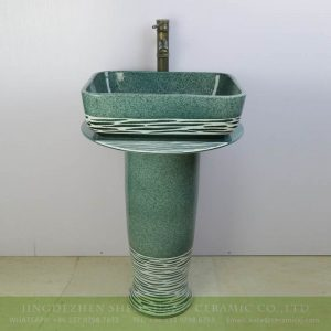 sjbyl-6293 Jingdezhen Shengjiang Ceramics outlet green lake style ceramic pedestal wash hand sink