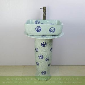 sjbyl-6294 Restaurant light green color blue dot porcelain pedestal sink
