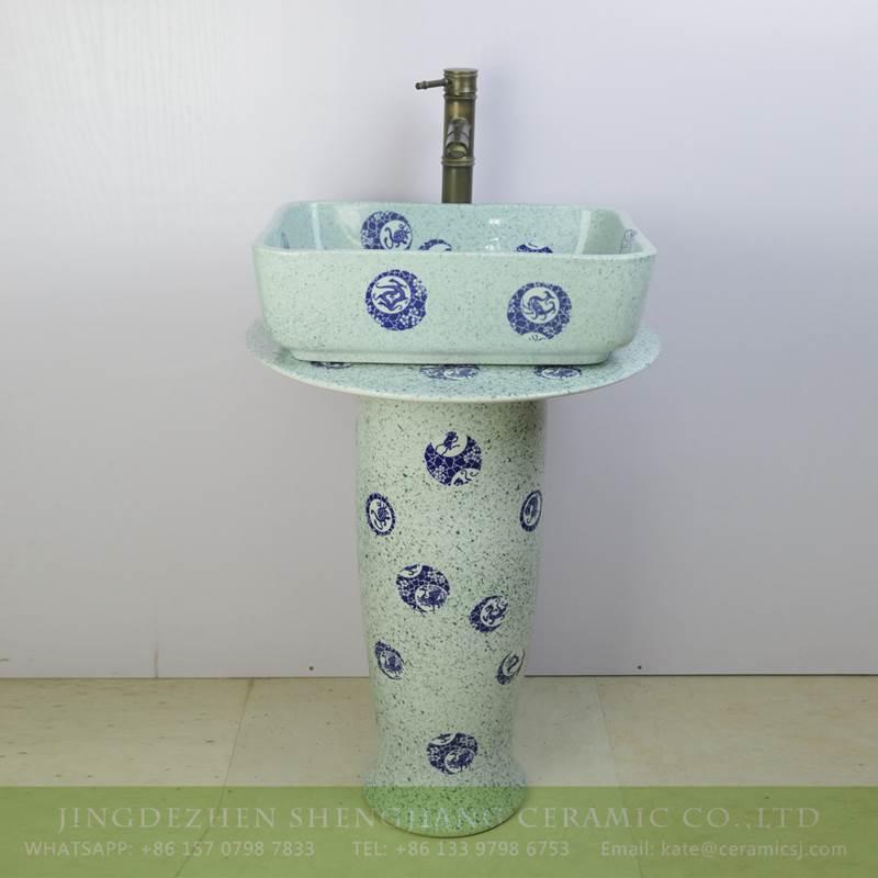 Light Green Color Blue Dot Porcelain Pedestal Sink