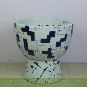 sjbyl-6304 Geometric blue and white post modern ceramic mop sink