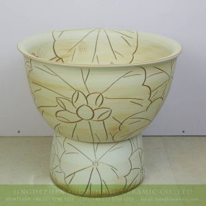sjbyl-6318 China lotus design yellow stunted ceramic sink