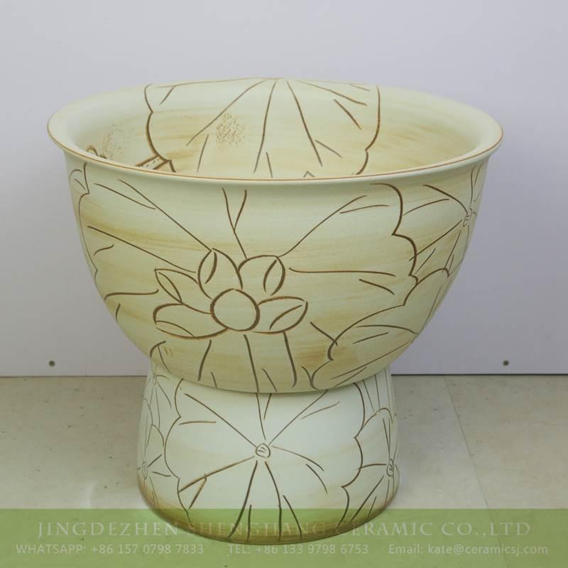 lotus design yellow ceramic sink