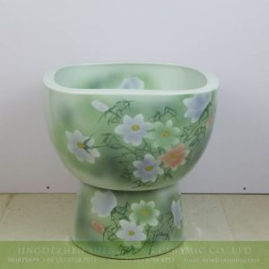 sjbyl-6319 Square shape green background Jingdezhen city flower camellia ceramic toilet mop sink