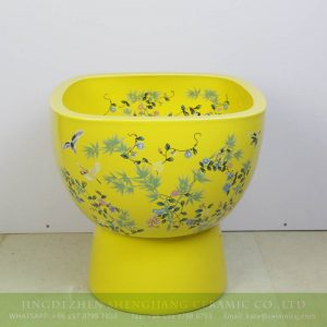 sjbyl-6320 China royal yellow bird flower porcelain mop sink for hotel