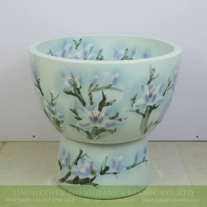 magnolia flower pattern ceramic urine pool