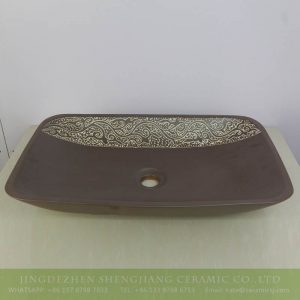 sjbyl-9001 Hand carved floral pattern chocolate design shallow rectangular ceramic basin