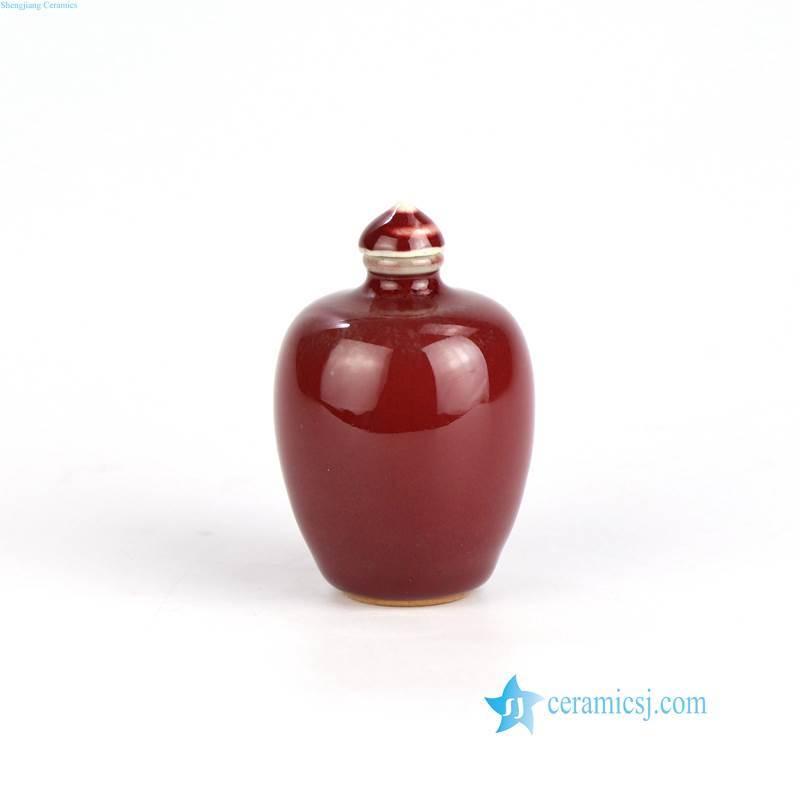 oxblood porcelain snuffle bottle