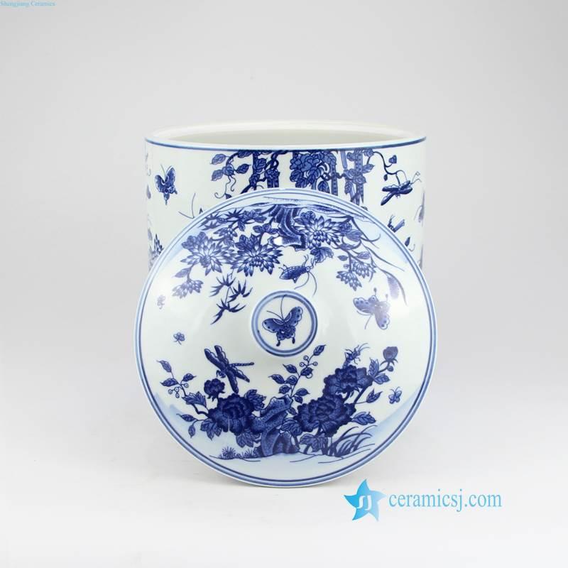RYAU32-AB blue and white tool gouard and pumpkin ceramic tea jar