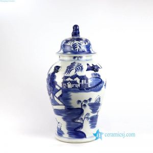 RYLU150 Lion top lid blue landscape porcelain jar
