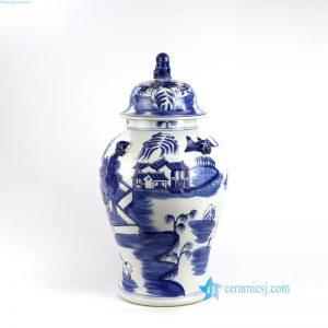 RYLU150 Lion top lid blue landscape porcelain jar