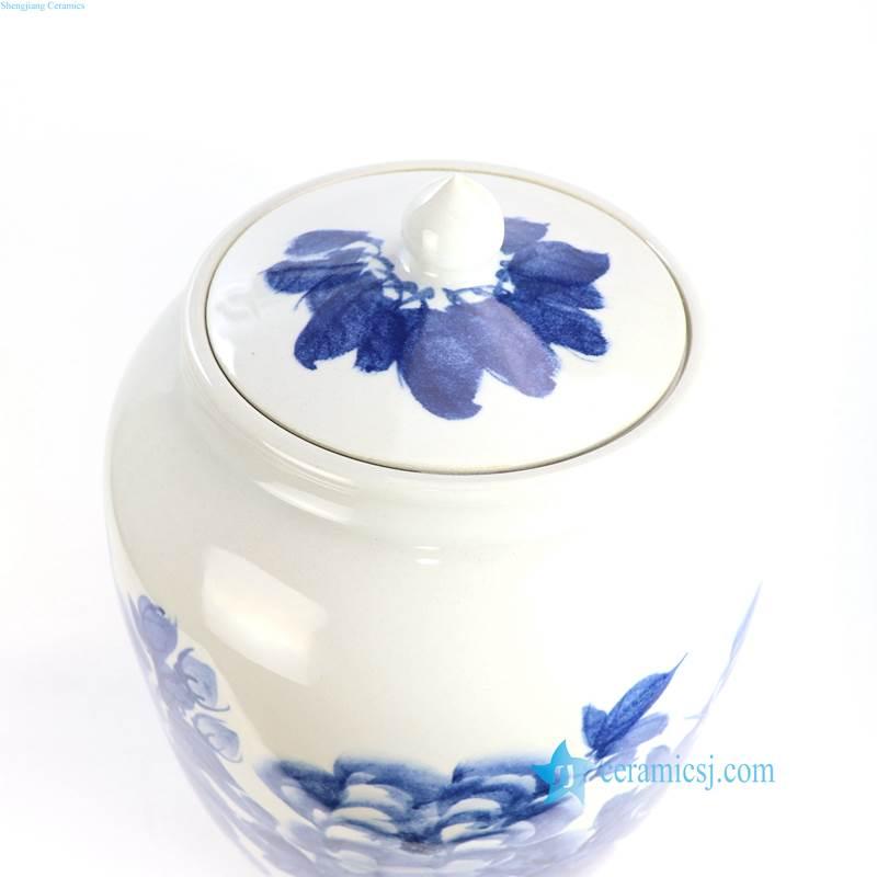 hand painted peony jar