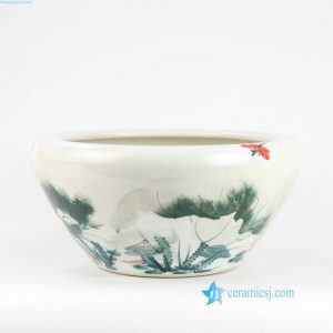 RYLX11 Lotus and leaf, dragonfly ceramic water pot