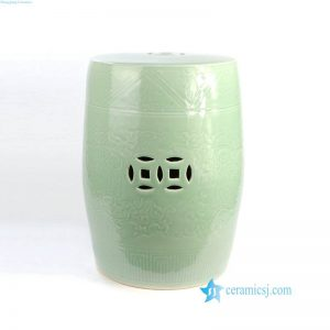 RYMA102 Celadon hand carved lotus design porcelain stool