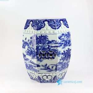 RYOM09 Blue and white China river side life six faces ceramic stool