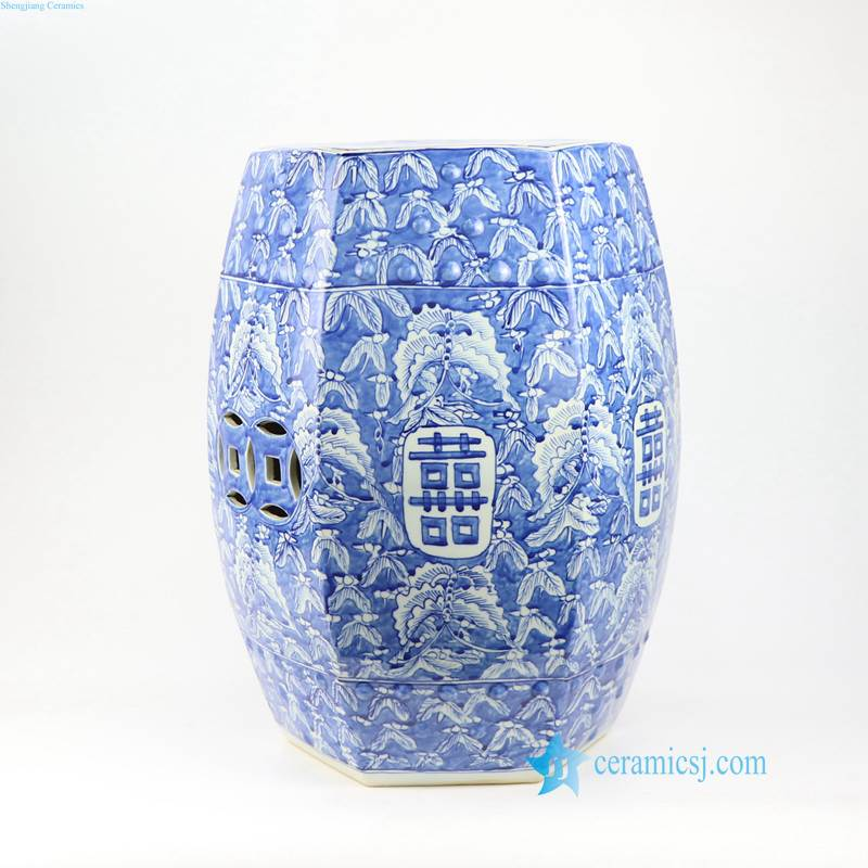 BUTTERFLY DOUBLE HAPPINESS CERAMIC STOOL