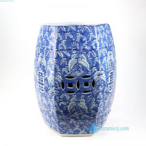 RYWM06 Blue and white butterfly and double happy ceramic stool