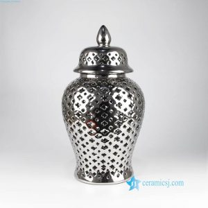 RYZS55 Plated silver lattice ceramic jar