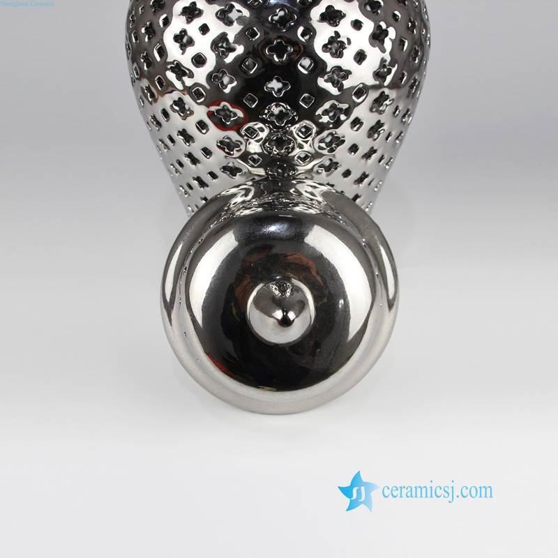 silver lattice ceramic jar
