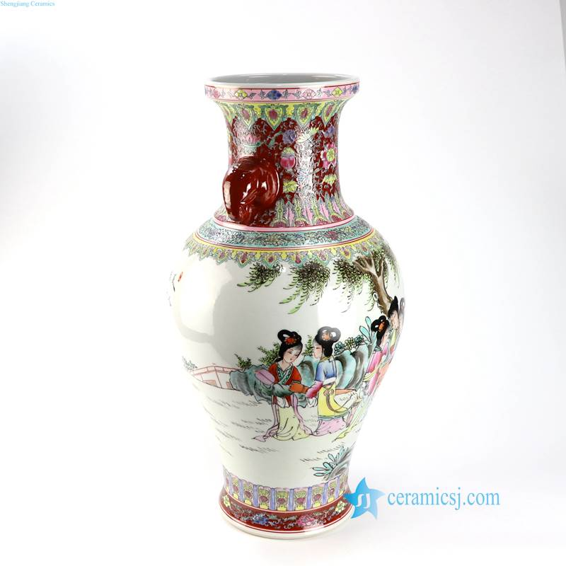 RZAI16 17 Qing Dynasty hand painted A Dream in Red Mansions pattern ceramic vase