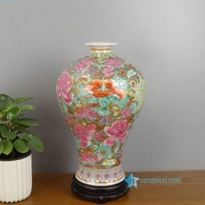 RZAI18 Royal gold background hand painted thousand flower ceramic vase