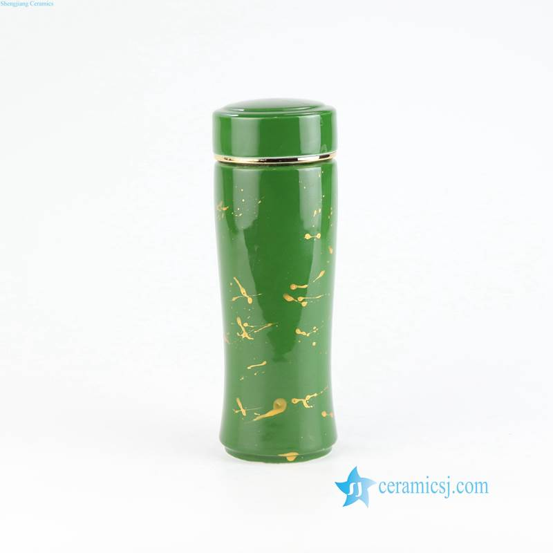 RZIN07 Green color ceramic water pot for office use