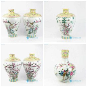 RZLS03678 Famille rose royal yellow bird flower branche porcelain vase