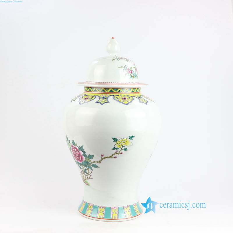 RZLS05 Hand painted ancient China style peacock peach pattern Jingdezhen artisan drawing cermaic jar