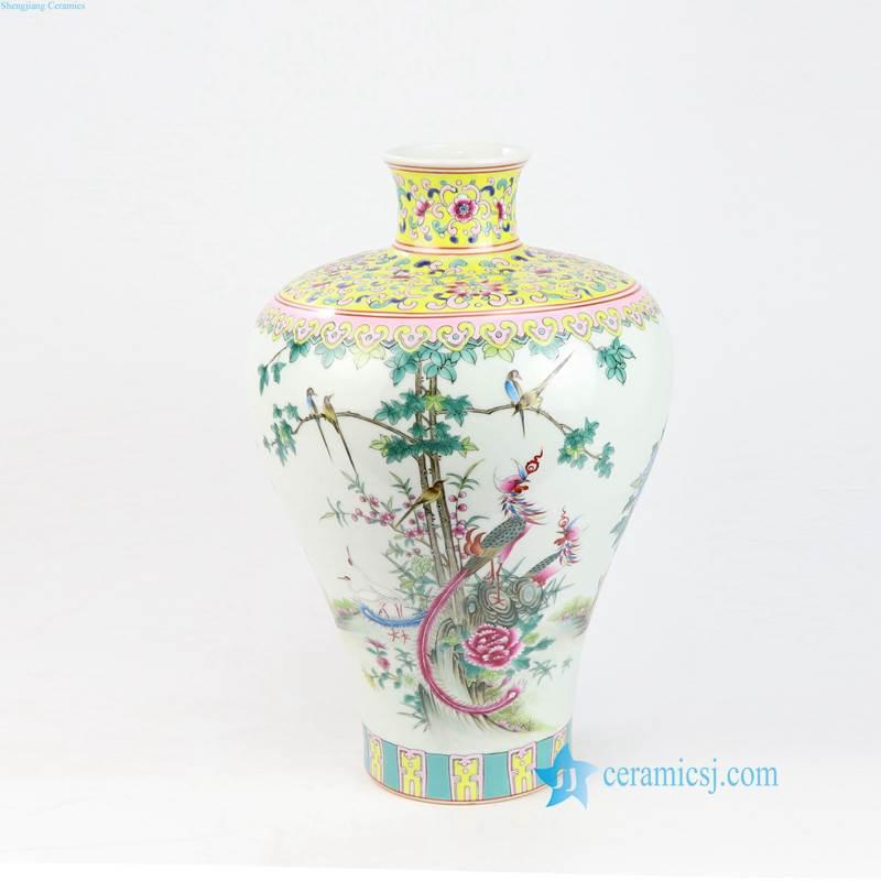 RZLS03678 Famille rose royal yellow bird flower branche porcelain vase