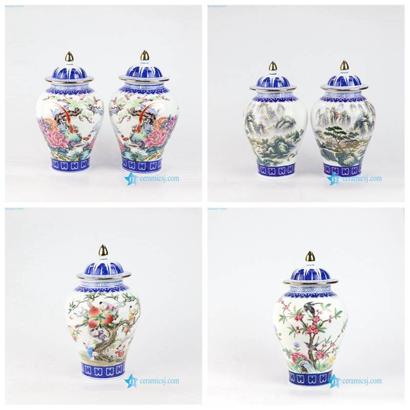 RZNW01-3 29 Thin layer home decor cute bird floral tree colorful porcelain jar