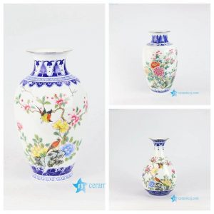 RZNW0456 China blue vase with colorful bird flower pattern