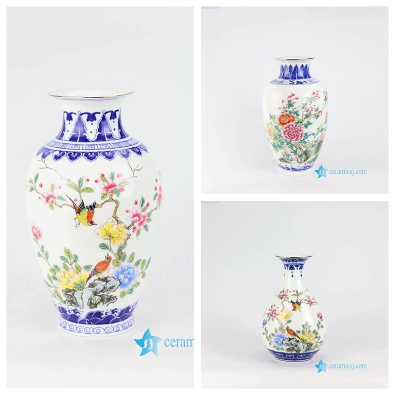 blue vase with colorful bird flower pattern
