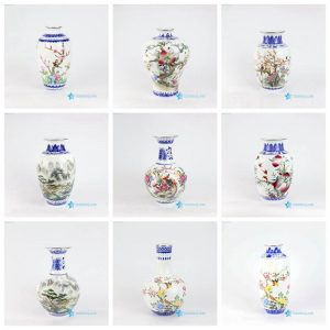 RZNW07-12 14-16 Jiangxi Jingdezhen blue and white vases with colorful pattern