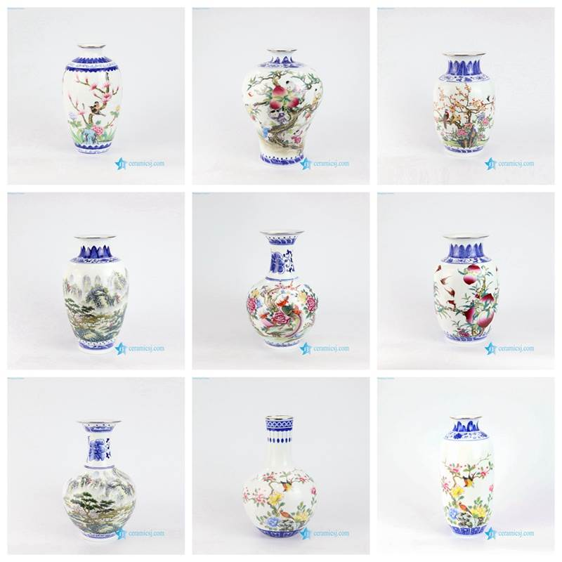 blue and white vase with colorful pattern