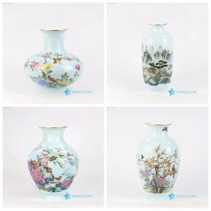 RZNW13 1789 Aisan landscape bird flower tree green decorative ceramic vase