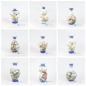 RZNW20-28 Blue and white golden rim bird tree mountain pattern porcelain flower vase