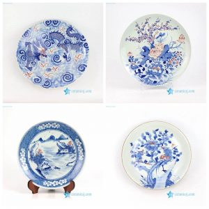 RZNX02345 Dragon floral landscape hand painted ceramic plate for showing