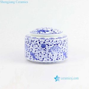 CBAD11 Blue and white flat lid lotus pattern sealed ceramic tea leaf jar
