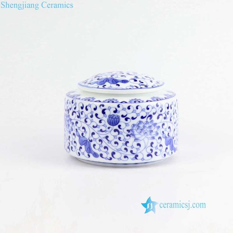 lotus pattern ceramic tea leaf jar