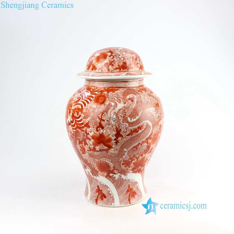 dragon floral red color ceramic lighting base