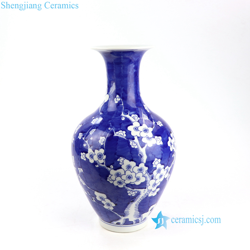 blue background floral porcelain vase